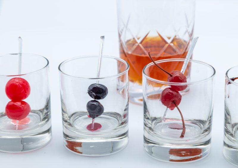 Luxardo cherries, peninsula premium cherries, trader joe's amarena cherries, filthy cocktail cherries, wild turkey rye whiskey